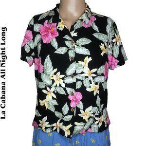 La Cabana Hawaiian Floral Button Up Shirt Sz L